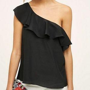 Anthropologie maeve one shoulder 100% silk top